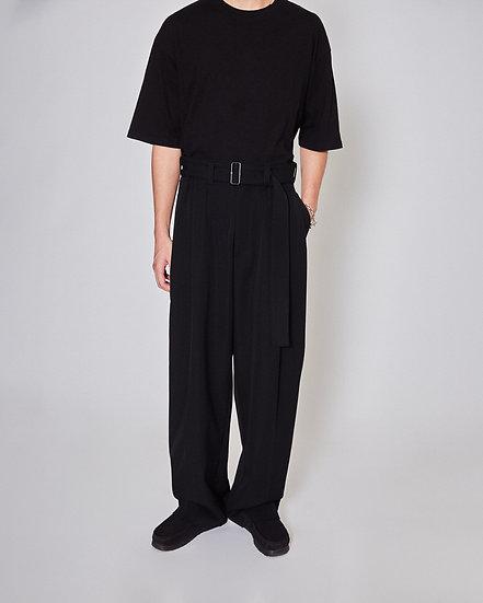 Black Gabardine  Wide Tapered Cabin Pants