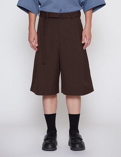 Brown One Tuck Gabardine Wide Shorts