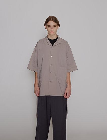 Grey Dry Weather Nylon Open Collar Shirt