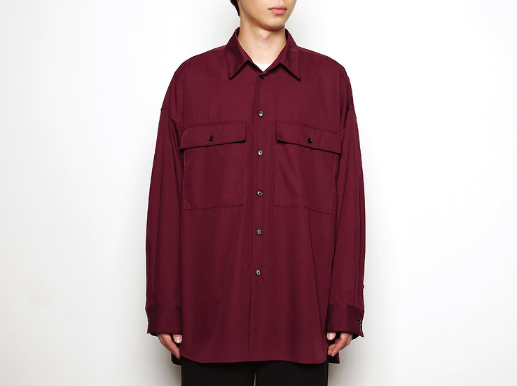 Purple Oversized Military Pockets Shirt