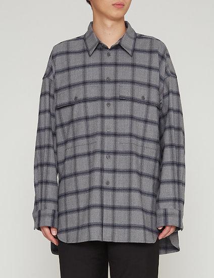 Grey Check Oversized Military Pocket Shirt