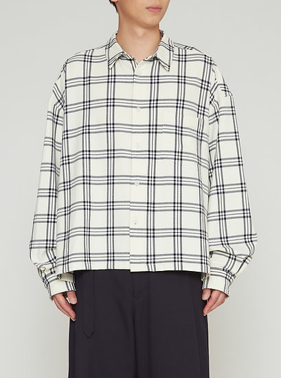 White Check Oversized Cropped Water Resistant Check Shirt