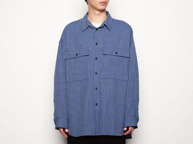 Blue Check Oversized Military Pockets Shirt