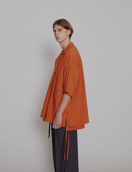 Orange Dry Weather Nylon Open Collar Shirt