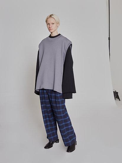 Grey Cut Sewn Oval Vest