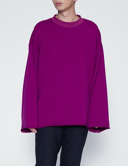 Purple Oversized Raw Edge Crewneck Sweater