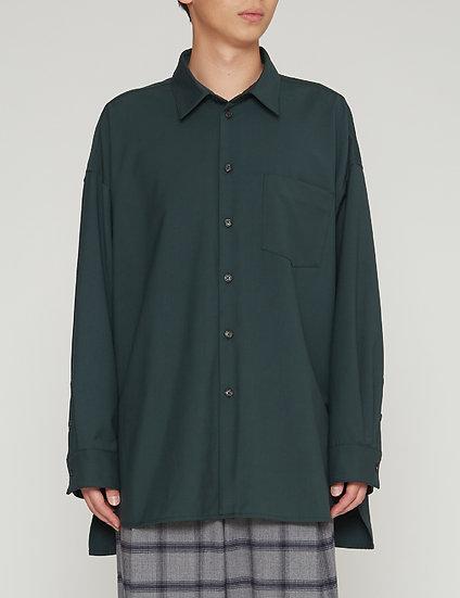 Dark Green Oversized Gabardine Back Yoke Shirt