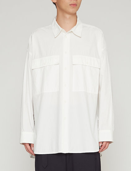 White Oversized Military Pocket Shirt