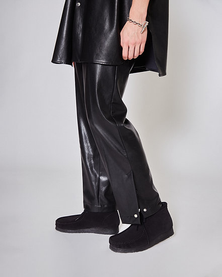 Black Synthetic Leather Side Slit Snap Button Pants
