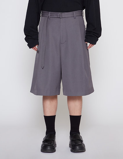 Steel Grey One Tuck Gabardine Wide Shorts