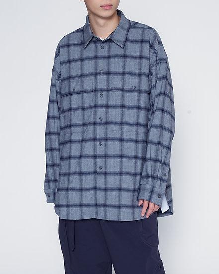 Grey Check Military Pocket Shirt