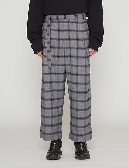 Grey Check One Tuck Wool Blended Wide Slacks