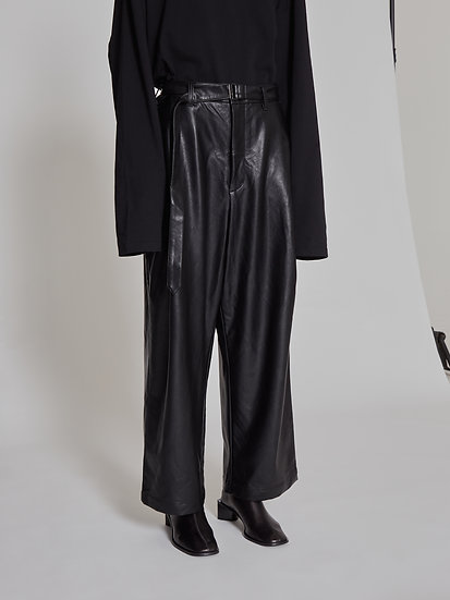Black Synthetic Leather Belted One Tuck Pants