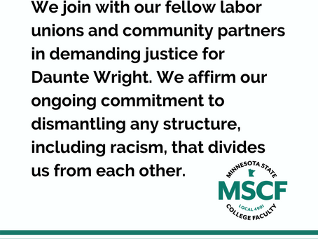 Member Communication Re: Daunte Wright and Our Commitment to Justice