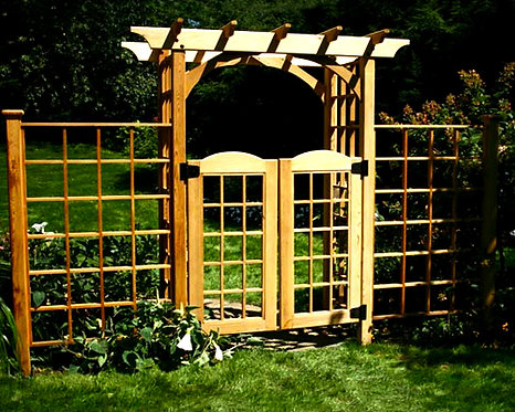 Red Cedar Canterbury Arbor w/ Gate & 2 Wings