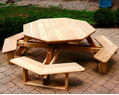 Red Cedar Octagon Walk-In Adult Picnic Table