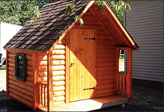 5' x 7' Log Cabin w/ Shingled Roof and Porch