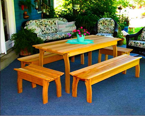 Red Cedar Contoured Picnic Table w/ (4) Benches