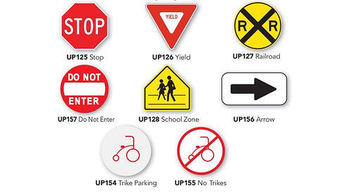 Trike Path Traffic Signs for Portable Stand