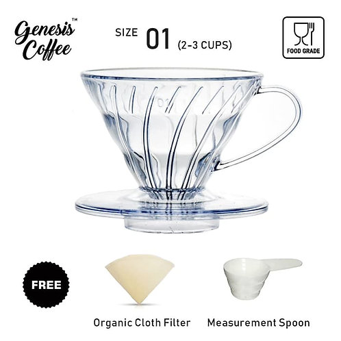 V60 Transparent 01 Free Filter Cloth and Coffee Spoon