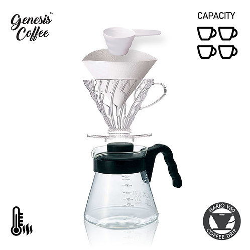 V60 Dripper Set - Bonus 100 Sheets Filter Paper and Coffee Spoon