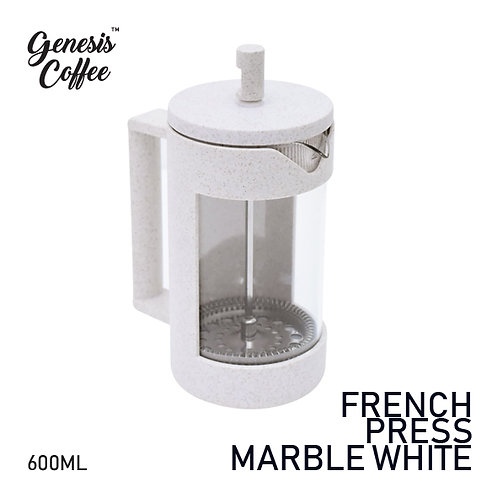 French Press Marble White Glass