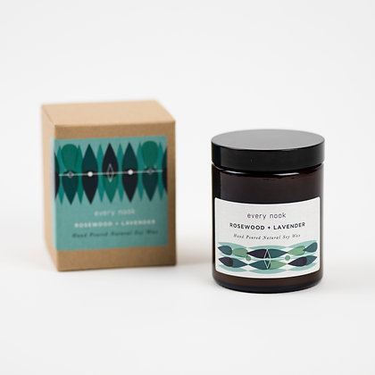 Rosewood + Lavender scented candle