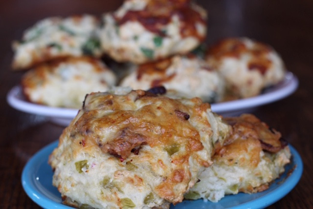 Green chile pepper jack bacon biscuits