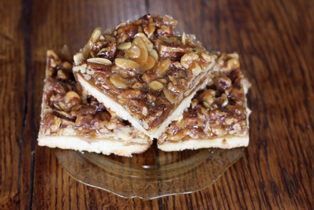 Pecan walnut almond bars