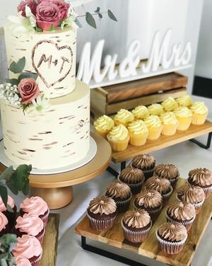 2 tier 8+6 inch cake plus 3 dozen cupcakes $510