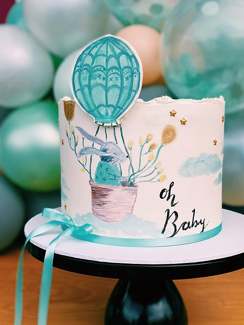 hand painted themed baby shower cake