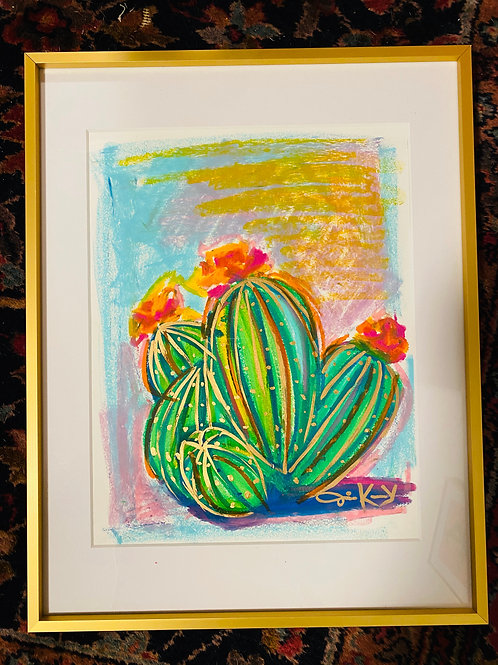 """Cacti Patch"" 18x20 Oil Pastel Painting"
