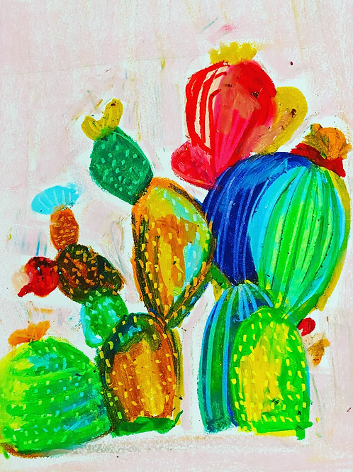 Cactus Oil Pastel Drawing