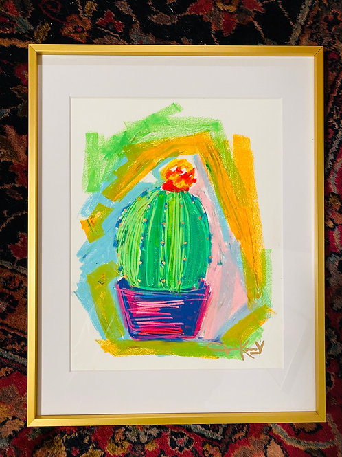 """Cactus Plant"" 18x20 Oil Pastel Painting"