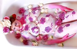Luxury Milk Bath with Paint & Roses