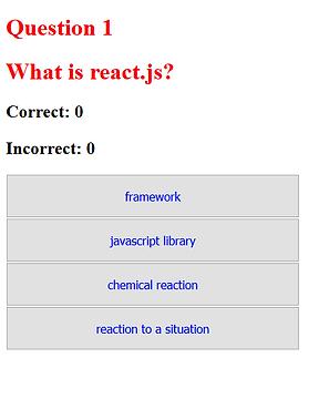 Quiz Application utilizing React js