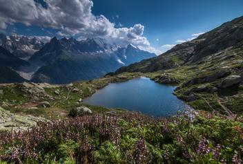 Vue sur Mont Blanc depuis les lacs des Chéserys - Aiguilles Rouges - Chamonix Mont Blanc