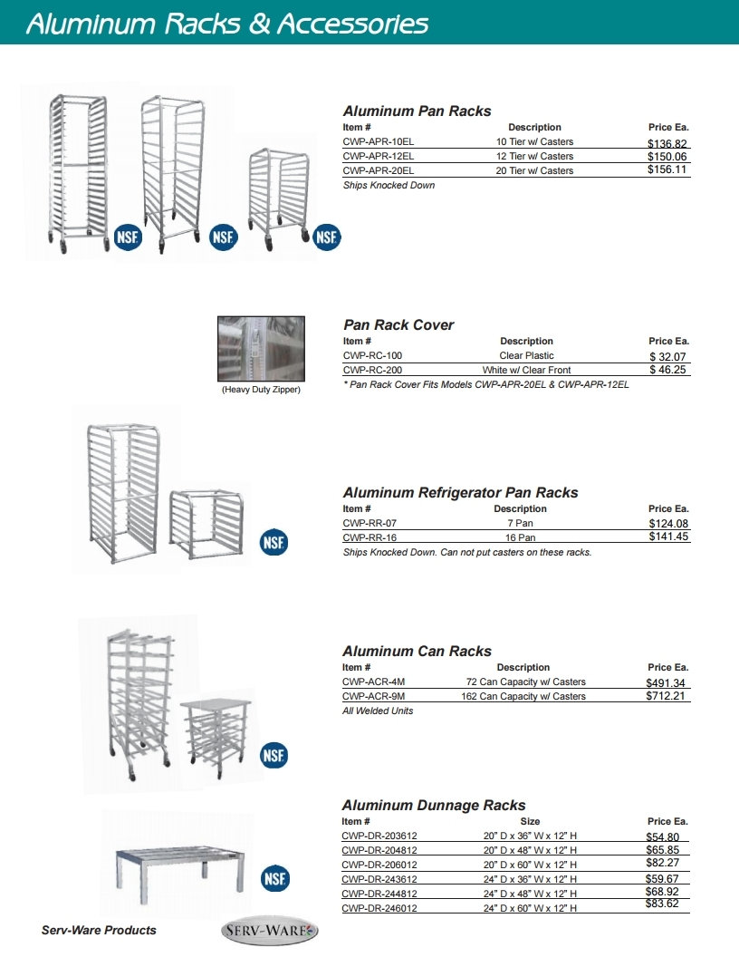New restaurant equipment aluminum racks