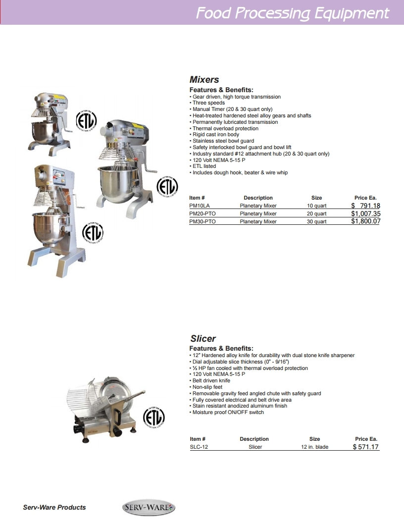 Restaurant Equipment Food Processing Equipment
