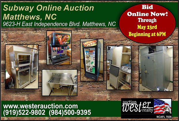 Restaurant Equipment Auction, NC