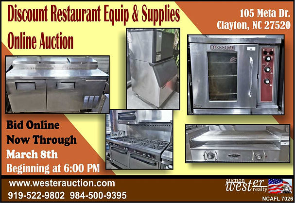 Restaurant Equipment Auction NC