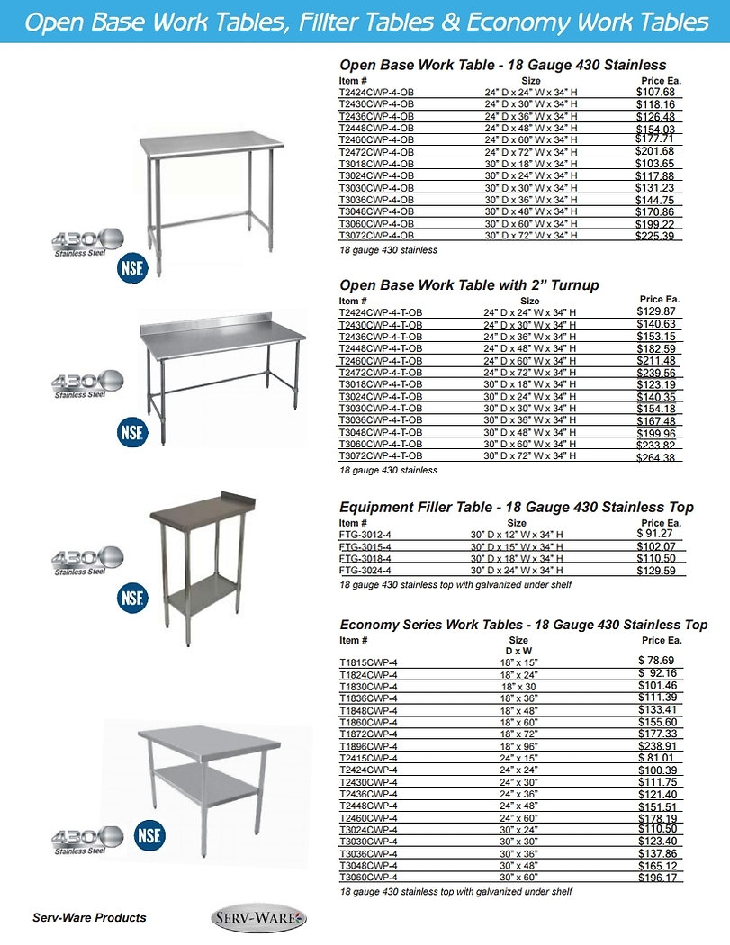 Restaurat Equipment Work Tables