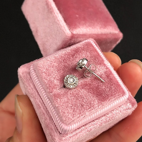 Gold diamond halo earrings