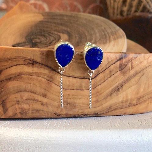 Lapis sterling silver drop earrings