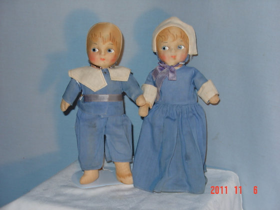 "Blossom Doll Co. Pilgrim Dolls VG,11"", antique"