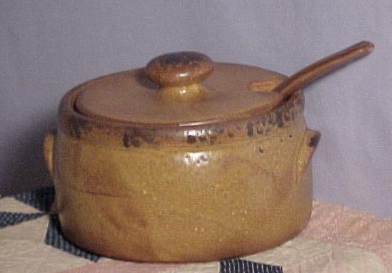 Brown McCoy Bean Pot, lid & ladle, antique