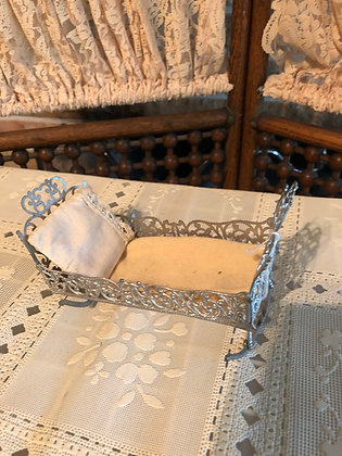 Antique Soft Metal Small Doll Cradle, 1893