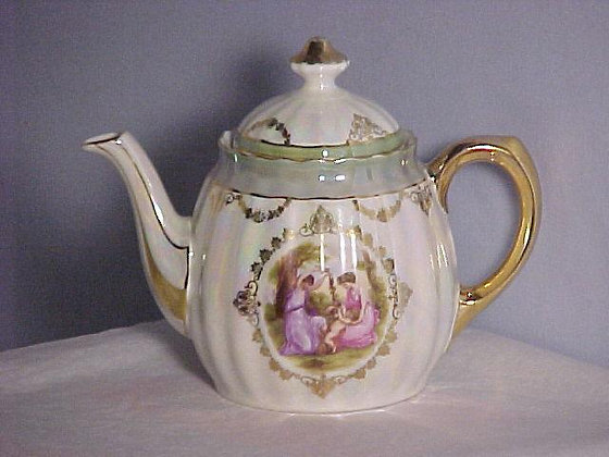 Teapot, Angelica Kaufmann signed, antique