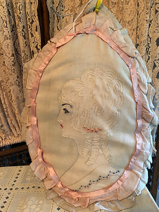 Boudoir Victorian Lady Doll Head Embroidered Pillow, Beautiful