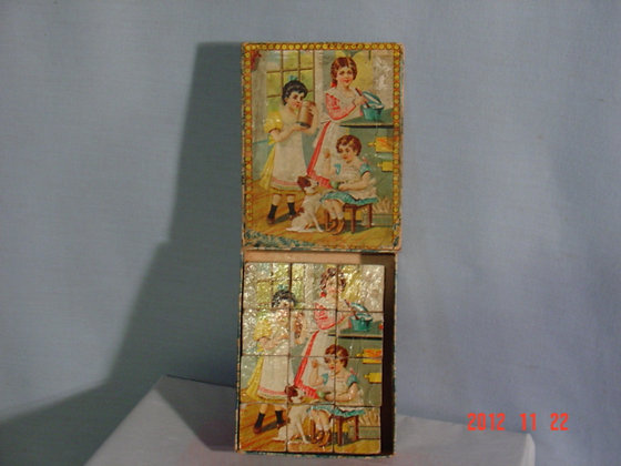 Vic. Puzzle Blocks, original box1920-40 antique